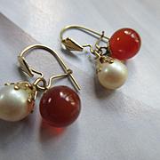 Vintage 10K Carnelian and Cultured Pearl Pierced Earrings