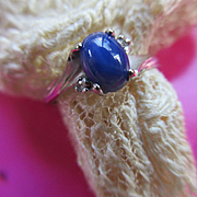 Vintage 10K Blue Star Sapphire Ring Size 7.5