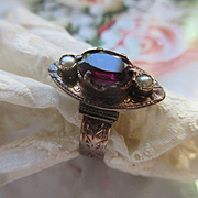 Victorian 10K Rodalite Garnet Ring with Seed Pearl Accents circa 1880