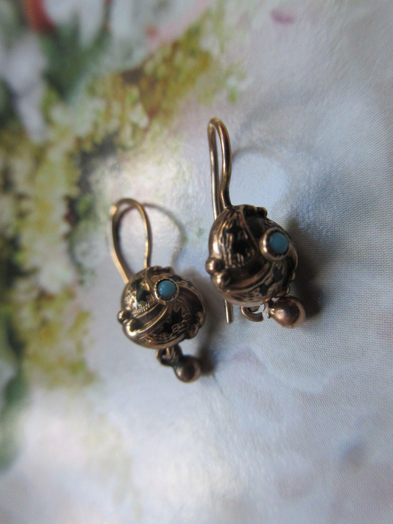 Victorian 10K Enameled Persian Turquoise Pierced Earrings