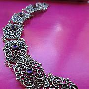 Vintage 800 Silver Austrian Amethyst Bracelet RR  R Ranft Designer Signed  European