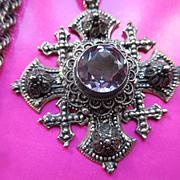 Vintage Circa 1930 Jerusalem Cross Necklace 800 Silver