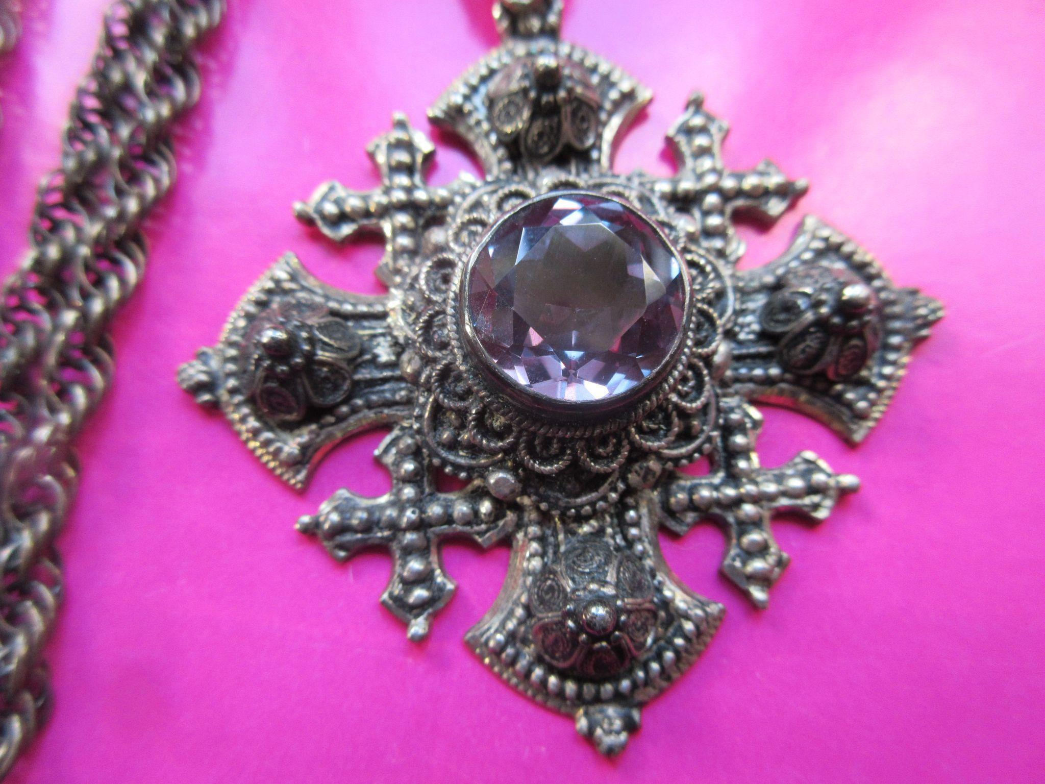 Vintage Circa 1930 Jerusalem Cross Necklace 800 Silver