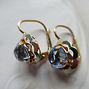 Older Vintage Faceted Blue Paste Pierced Earrings in Gold Fill