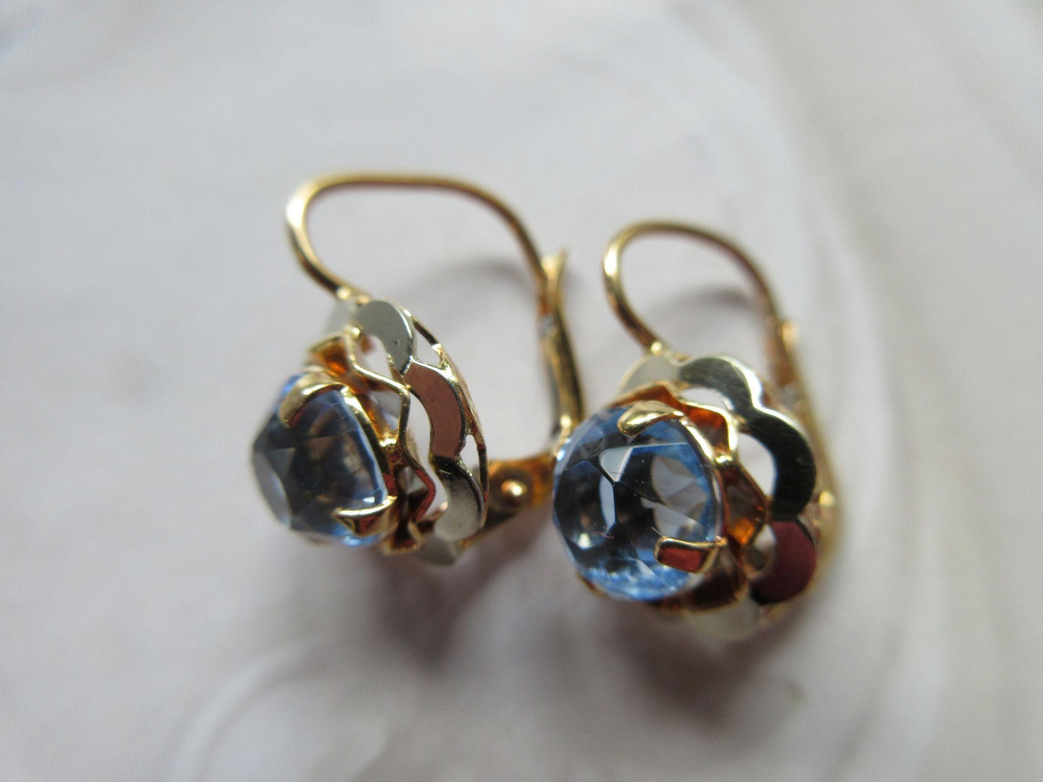 Older Vintage Faceted Blue Paste Pierced Earrings in Gold Fill