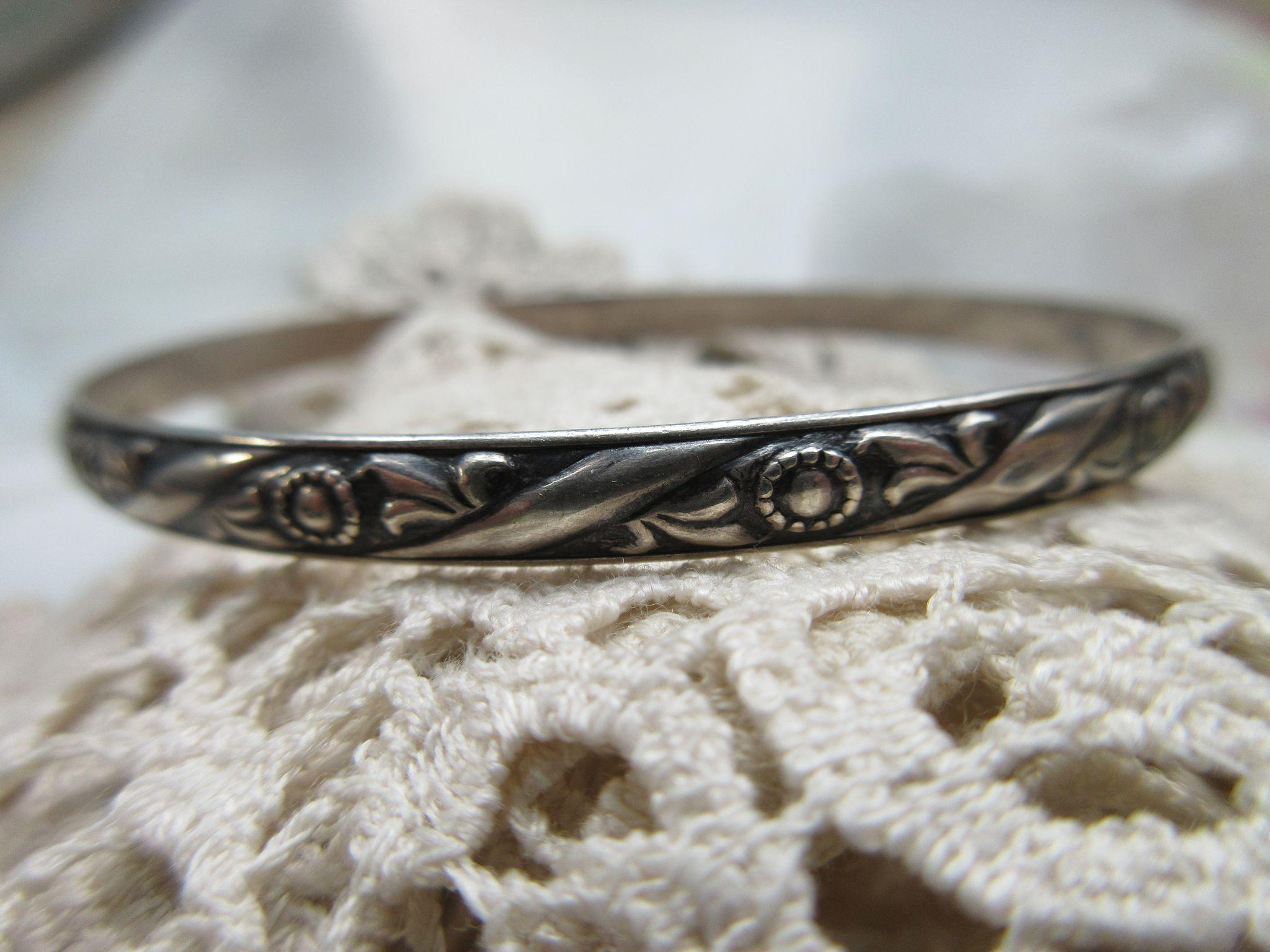 Vintage Felch  Co DANECRAFT Sterling Silver Bangle Bracelet