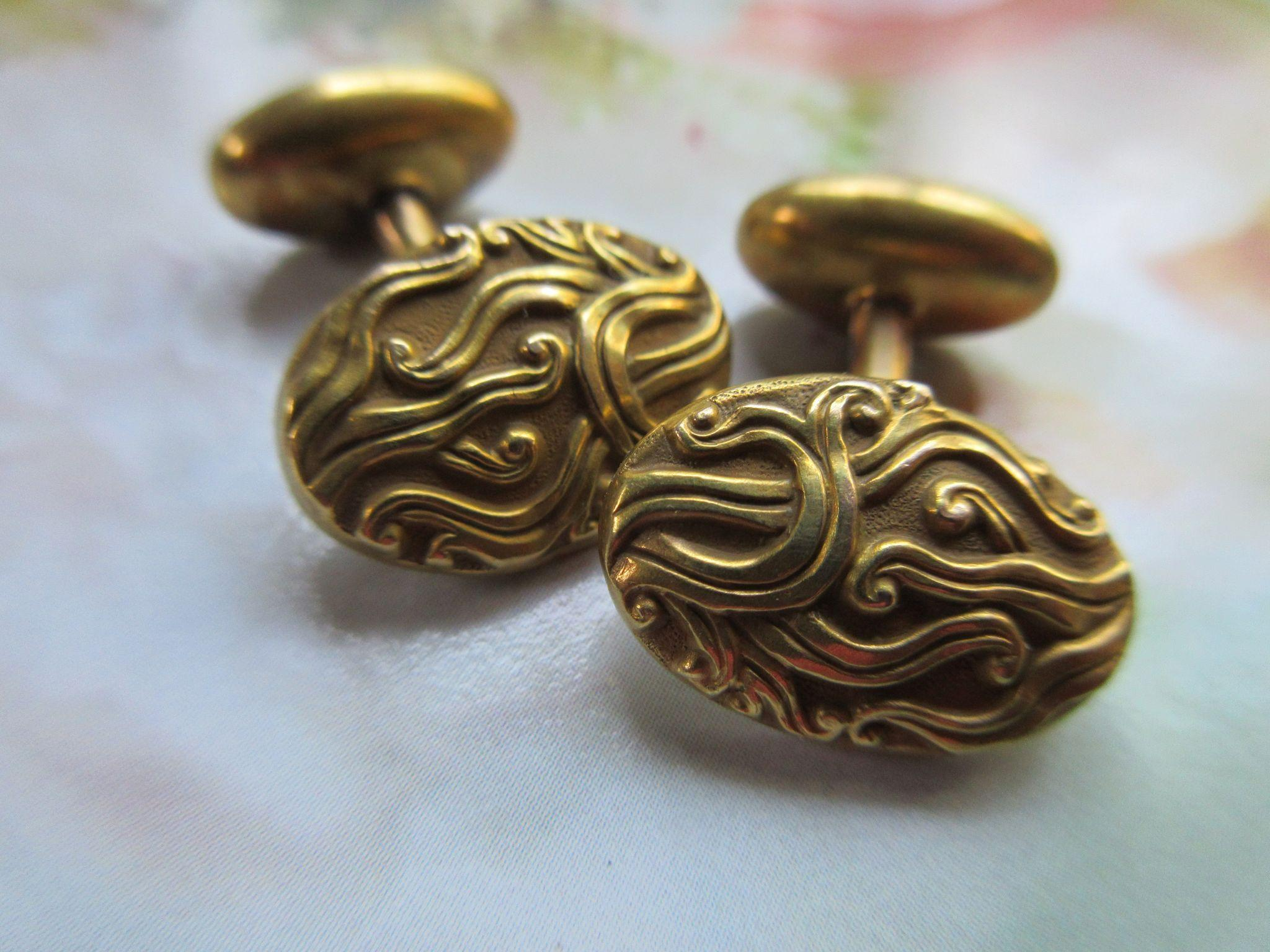 Victorian Antique 14K Cufflinks  with Makers Mark