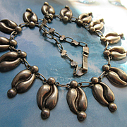 Vintage Pre Eagle Guad Mexican Sterling Coffee Bean Style Necklace