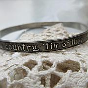 Vintage Circa 1940 Patriotic Sterling Bangle Bracelet Hallmarked Authentics