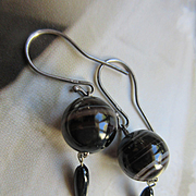 Antique Sterling Banded Agate Pierced Earrings