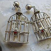 Taxco Vintage Mexico Los Ballesteros Silver Bird Cage Earrings