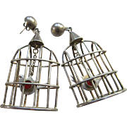 Taxco Vintage Mexico Los Ballesteros Silver Bird Cage Earrings