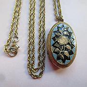 Antique Enameled Roses Locket Necklace