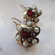 Victorian 14K Garnet Doublet and Faux Pearl Pierced Earrings  Antique Earrings