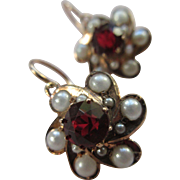 Victorian 14K Garnet Doublet and Faux Pearl Pierced Earrings  Antique Earrings