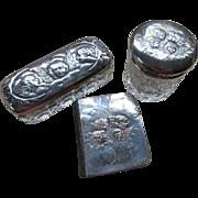 Edwardian English Three Piece Dresser Jar Set Reynold's Angels