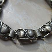 Vintage 830 Silver Floral Bracelet Hallmarked JT