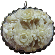 Antique Carved Bone Floral Pin Pendent