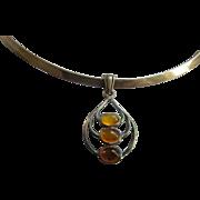 Vintage Sterling Amber Necklace