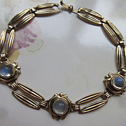 Retro 10k Gold Natural Moonstone Open Back Bezel Set Bracelet