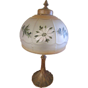 Vintage 30s 40s Boudoir Lamp wth Painted Floral Shade