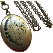 Victorian Crescent Moon Pansy Paste Locket Necklace   Honeymoon Jewelry