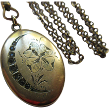 Victorian Crescent Moon Pansy Paste Locket Necklace   Honeymoon Jewelry - Red Tag Sale Item