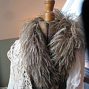 Deco Ostrich Feather Boa 1920s 30s Flapper Tassels Vintage Grey Burlesque Stole Collar