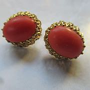 Vintage 18k Natural Coral Pierced Earrings