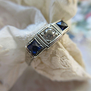 Deco 1930s 14K White Gold Diamond Synthetic Sapphire Ring   Hand Engraved