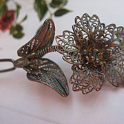 Antique Filigree Floral Hair Pin