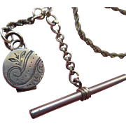 Victorian Gold Fill Watch Chain with Tiny Locket Fob