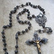 Late 19th Century Silver Filigree Rosary Crown Of Mary Center
