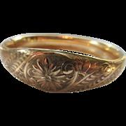 Antique Chased Bangle Bracelet in Gold Fill