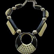 Vintage Deco Black White Celluloid Paste Necklace