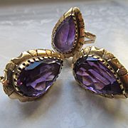 Vintage 14K Amethyst Ring and Pierced Earring Set