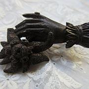 Victorian Bog Oak Hand Pin