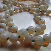 Vintage Carved Opal Beaded Hand Tied Necklace
