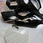 Antique Carved Agate Heart Necklace