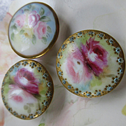 Victorian Porcelain Hand Painted Buttons
