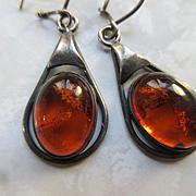 Vintage Sterling Amber Pierced Earrings