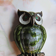 Finn Jensen Enameled Owl Brooch Sterling Norway