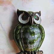 Finn Jensen Enameled Owl Brooch Sterling Norway