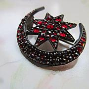 Antique Victorian Bohemian Garnet Crescent Moon and Star Pin January Birthstone