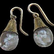 Vintage Floating Opals Earrings in Gold Fill  Snow Globe Earrings