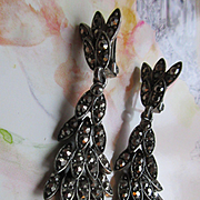 Vintage Paste Dangle Drop Clip On Earrings