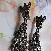 Vintage Paste Dangle Drop Clip On Earrings