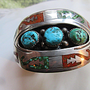 Vintage Navajo Sterling Joe Corbet Turquoise and Coral Chip Inlay Cuff Bracelet