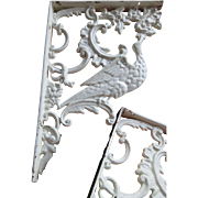 Pair Antique Wall Brackets Bird Motif Chippy Shabby Decor