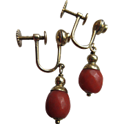 Victorian 14K Faceted Coral Screw Back Earrings